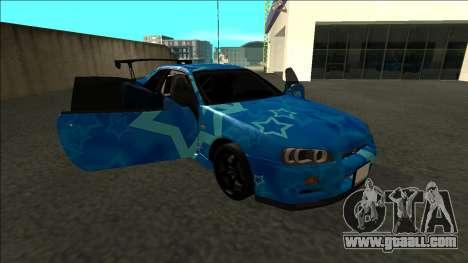 Nissan Skyline R34 Drift Blue Star for GTA San Andreas side view