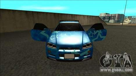 Nissan Skyline R34 Drift Blue Star for GTA San Andreas inner view