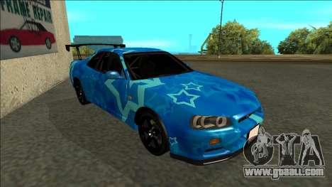 Nissan Skyline R34 Drift Blue Star for GTA San Andreas left view