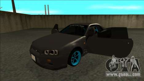Nissan Skyline R34 Drift Monster Energy for GTA San Andreas back view