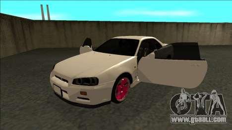 Nissan Skyline R34 Drift JDM for GTA San Andreas back view