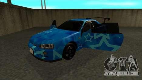Nissan Skyline R34 Drift Blue Star for GTA San Andreas back view