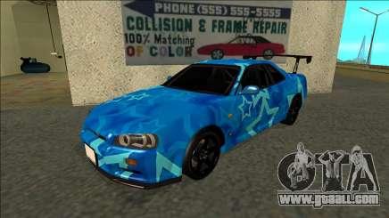 Nissan Skyline R34 Drift Blue Star for GTA San Andreas