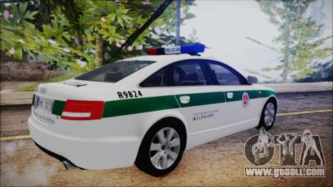 Audi A6 C6 Lithuanian Police for GTA San Andreas back left view