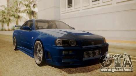 Nissan Skyline R34 FnF 4 for GTA San Andreas