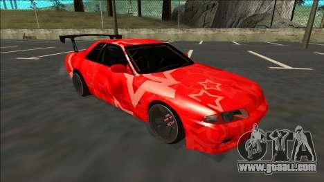 Nissan Skyline R32 Drift Red Star for GTA San Andreas back left view