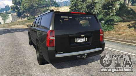 GTA 5 Chevrolet Suburban Police Unmarked 2015 rear left side view