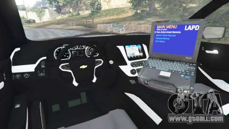 GTA 5 Chevrolet Suburban Police Unmarked 2015 rear right side view