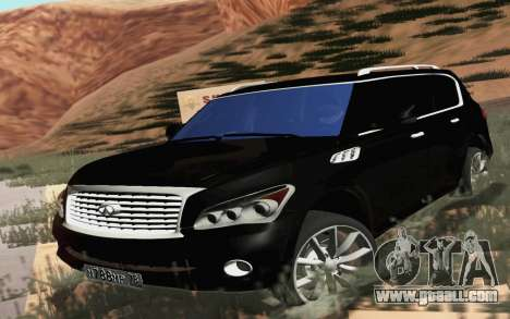 Infiniti QX80 for GTA San Andreas back left view