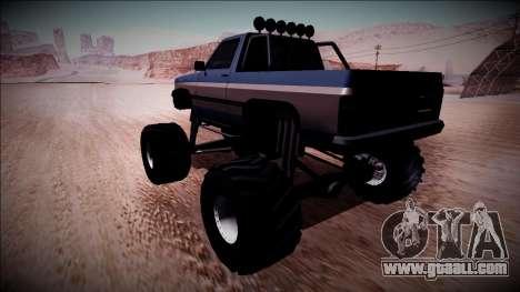 Rancher Monster Truck for GTA San Andreas back left view