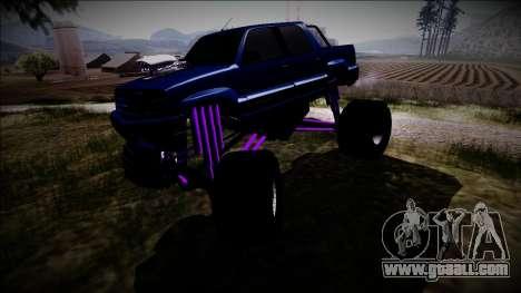 GTA 4 Cavalcade FXT Monster Truck for GTA San Andreas inner view