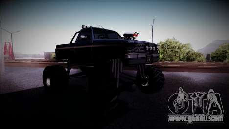 Rancher Monster Truck for GTA San Andreas back view