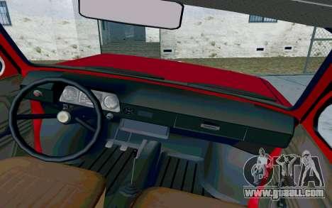 ZAZ 968 for GTA San Andreas inner view