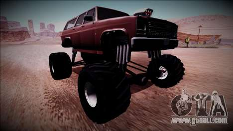 Rancher XL Monster Truck for GTA San Andreas back left view