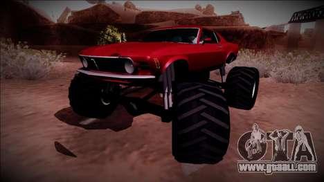 1970 Ford Mustang Boss Monster Truck for GTA San Andreas back left view