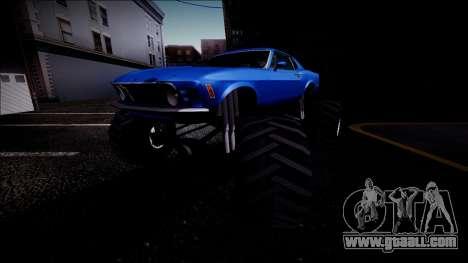 1970 Ford Mustang Boss Monster Truck for GTA San Andreas wheels
