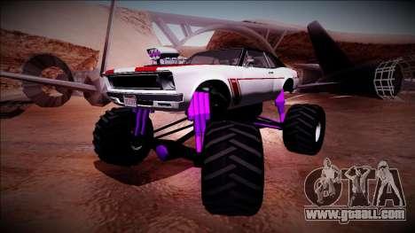 GTA 5 Declasse Tampa Monster Truck for GTA San Andreas back left view