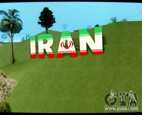 IRAN is the inscription Vinewood for GTA San Andreas