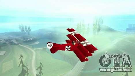 Fokker Dr1 triplane for GTA San Andreas back left view