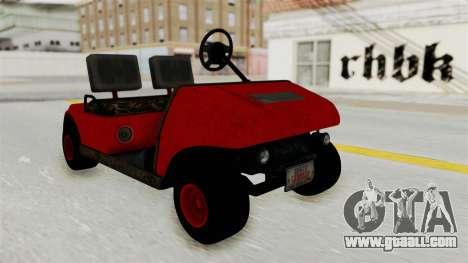 GTA 5 Gambler Caddy Golf Cart for GTA San Andreas back left view