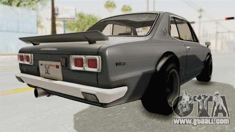 Nissan Skyline KPGC10 1971 for GTA San Andreas back left view