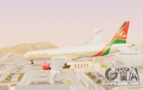Boeing 777-300ER Kenya Airways for GTA San Andreas right view