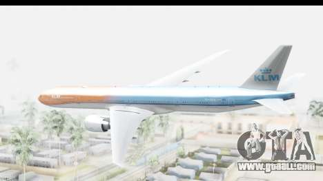 Boeing 777-300ER KLM Orange Pride for GTA San Andreas right view