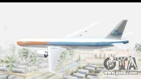 Boeing 777-300ER KLM Orange Pride for GTA San Andreas right view