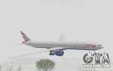 Boeing 777-300ER British Airways for GTA San Andreas back left view