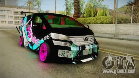 Toyota Vellfire - Miku Hatsune Itasha for GTA San Andreas back left view