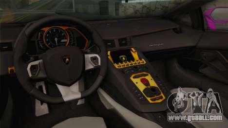 Lamborghini Aventador The Joker for GTA San Andreas inner view