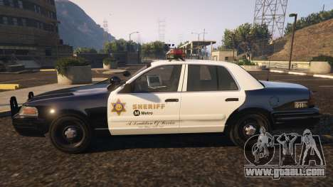GTA 5 Ford Crown Victoria P71- LA Co. Sheriff 1999 left side view