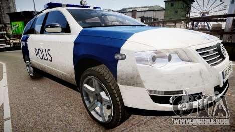 Finnish Police Volkswagen Passat (Poliisi) for GTA 4 right view