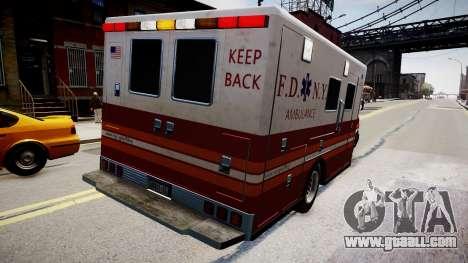 F.D.N.Y. Ambulance for GTA 4 back left view