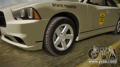 Dodge Charger 2012 SA State Patrol for GTA San Andreas back view