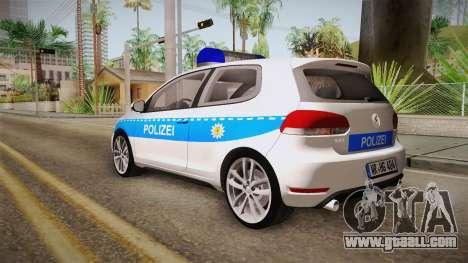 Volkswagen Golf Mk6 Police for GTA San Andreas left view