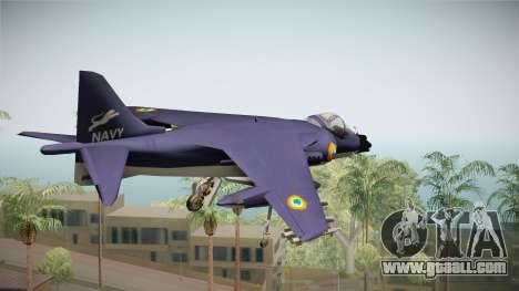 Sea Harrier White Tigers Squadron Indian Navy for GTA San Andreas left view