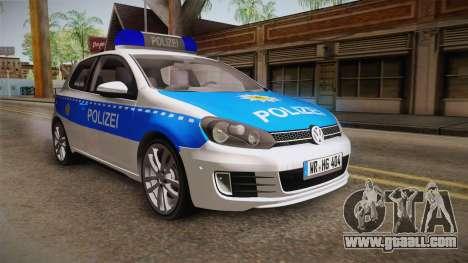 Volkswagen Golf Mk6 Police for GTA San Andreas back left view