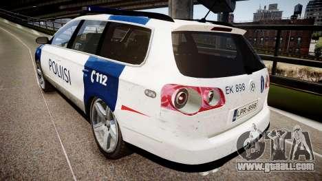 Finnish Police Volkswagen Passat (Poliisi) for GTA 4 back left view