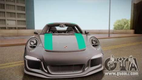Porsche 911 R (991) 2017 v1.0 Green for GTA San Andreas back view