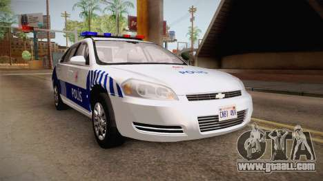 Chevrolet Impala Turkish Police for GTA San Andreas back left view