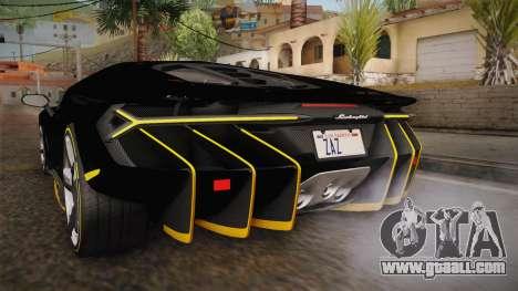Lamborghini Centenario LP770-4 2017 Carbon PJ for GTA San Andreas interior