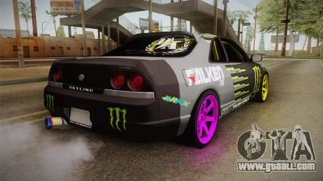 Nissan Skyline R33 Drift Monster Energy Falken for GTA San Andreas left view