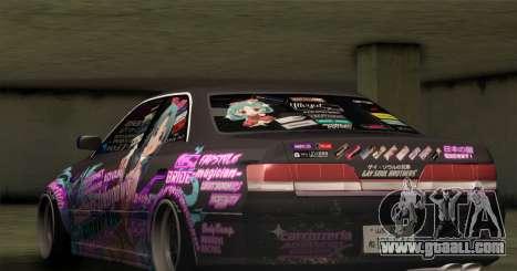 Toyota Mark 2 ITASHA PROJECT IDOLMASTER MATSURI for GTA San Andreas back view