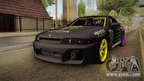 Nissan Skyline R33 Drift Monster Energy Falken for GTA San Andreas right view