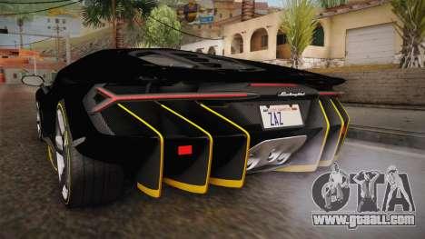 Lamborghini Centenario LP770-4 2017 Carbon PJ for GTA San Andreas bottom view