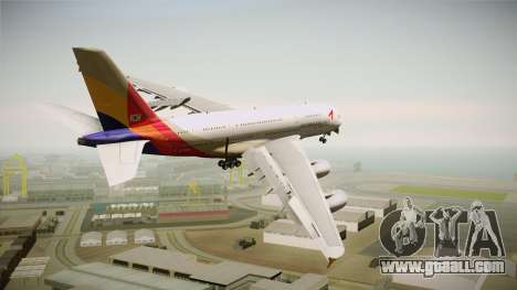 Airbus A380 Asiana Airline for GTA San Andreas right view