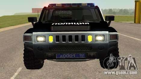 Hummer H2 Police V1 for GTA San Andreas back view