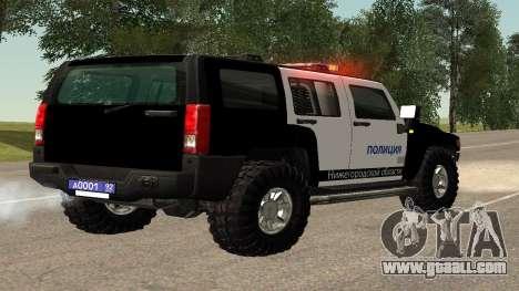 Hummer H2 Police V1 for GTA San Andreas back left view