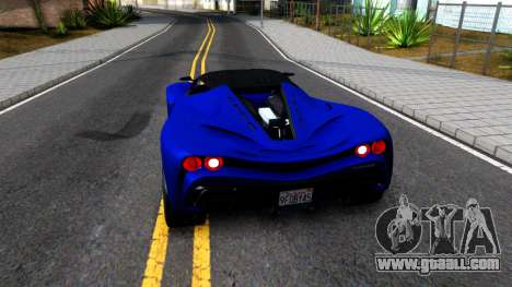Grotti Turismo RXX K From GTA 5 for GTA San Andreas back left view